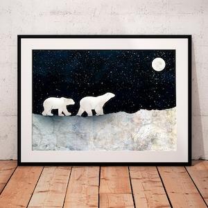 Polar Bear Wall Decal Snow Animal 3D Smashed Wall Decor Art Sticker Poster Kids Room Vinyl Mural Custom Gift BL164