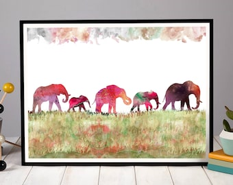 Five Elephants Elephant Print Nursery Art Decor Family Baby Kids Room Wall Penelope And The Ducks A5 A4 A3