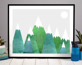 Retro Green Mountains, Penelope and the Ducks, Mountain Print, Retro Print, Triangle Print, Mountain Poster, Mountain Art, Abstact, Modern