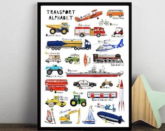 Transport Abc, Vehicle Alphabet, Kids Alphabet Print, Nursery Abc Print, Car Poster, Childrens Print, Nursery A-Z, Boys Gift, Digger Print