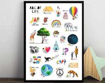Children's Alphabet Print, Nursery Poster, Alphabet Poster, Abc Poster, Abc of Life, Peace, Watercolour Alphabet, A to Z, Kids Poster, Home