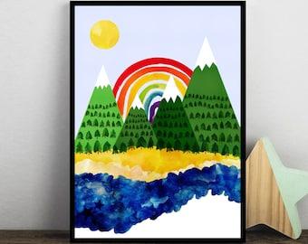 Rainbow and Mountain Print, Kids Room Print, Rainbow Wall Art, Abstract Rainbow Poster, Landscape, Wild Print, Childrens Print, Watercolour