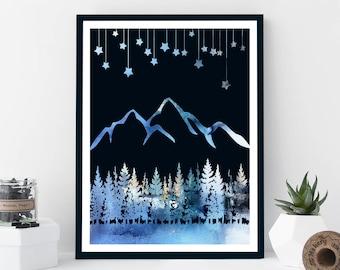 Retro Mountain Print, Mountain Art, Playroom, Wall Art, Nursery Print, Mountain Poster, Adventure Print, Kids Bedroom, Nursery Art