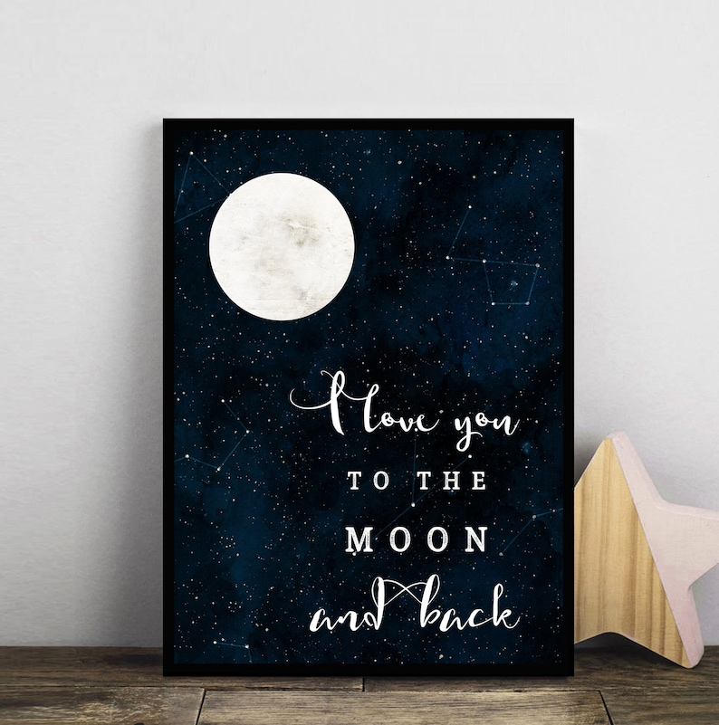 Love You Moon /& Back Set 2 Typography Print Poster Unframed Nursery Quote Love
