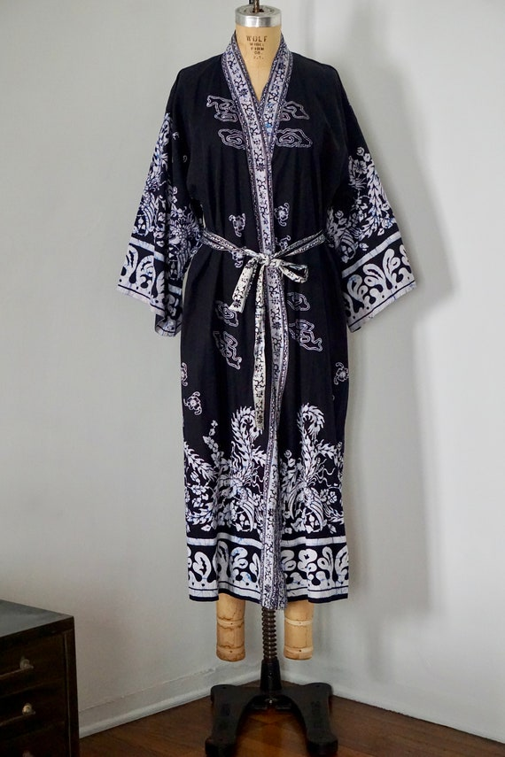 Marvelous Vintage Indigo Batik Robe Kimono Onthecornerstone Fun Painted Chair Ideas Images Onthecornerstoneorg
