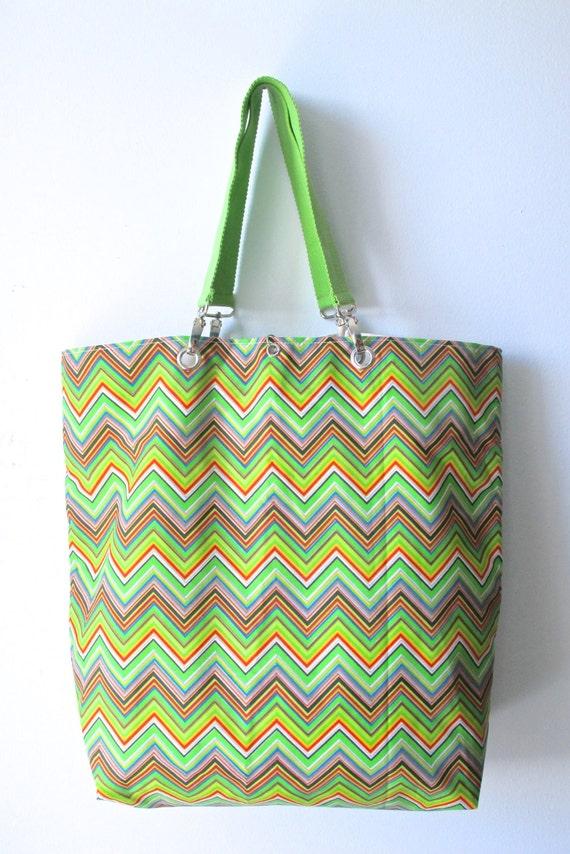 Zig Zag Multi Color Lime Green Tote/Beach/Market B