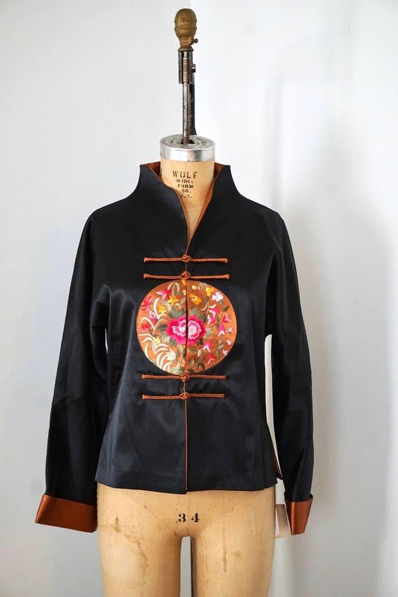 Cheongsam Jacket/Floral Silk Jacket/ Chinese Flora