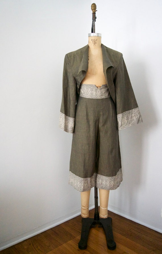 Xiao Studio High waisted Olive Green Linen and Sil