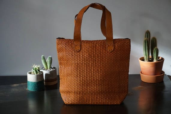 Cognac handwoven Leather Tote