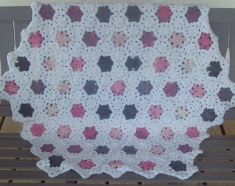 Afghan,Baby,Infant,Newborn,Shower,Gift,Crocheted,Photos,Charcoal,Pinks,Rose,Yellows