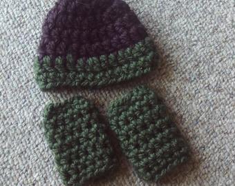 Preemie,Hat,Leg Warmers,Green,Brown,Boy,Larger Preemies,Hats,Boys,Crocheted