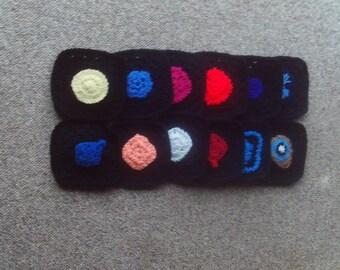 Set Of 12grannysquares Crochetedsuppliescraftsblackafghanslapghansclothingbags6x6