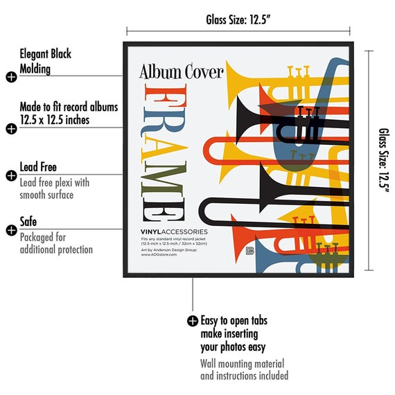 """Americanflat Album Frame,Made to Display Album Covers and LP Covers 12.5/""""x12.5/"""""""