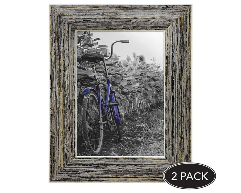 5x7 Tan Rustic Picture Frames with Easels Made for Wall and Tabletop Display 2 Pack