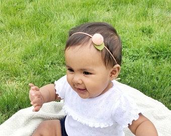 Peach Flower Headband / Felt Flower Headband / Newborn Headband / Baby Flower Headband / Dainty Flower Headband / Newborn Photo Shoot Prop