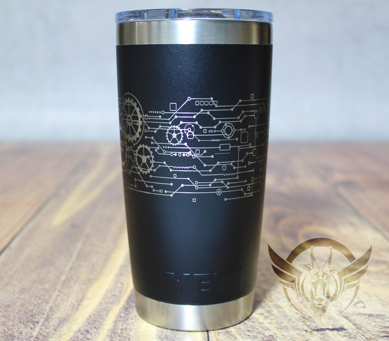 84d1e4b8917 Steampunk Abstract circuit and gears 360 degree laser etched on YETI 20 oz  Rambler - Engraved Yeti Cup -Yeti gifts - Customized Yeti tumbler