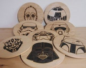 Set of 8 Science Fiction Pyrography Placemats Wall Art