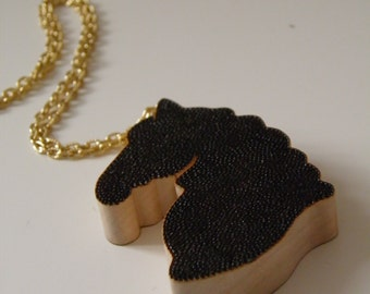 Woodburnt Horse Shadow Pendant