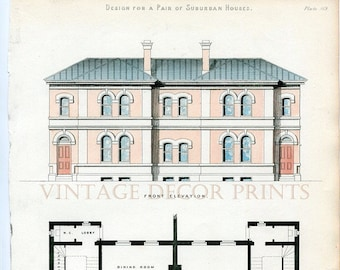 Antique Architecture Print. 1855 Design for a Pair of Suburban Houses Showing Front Elevation and Ground Plan, Architects or Builders Office