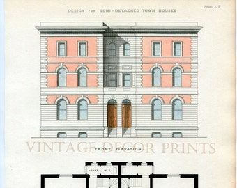 Antique Architecture Print. 1855 Design for Semi-Detached Town Houses Showing Front Elevation and Plan, Architects or Builders Office Decor.