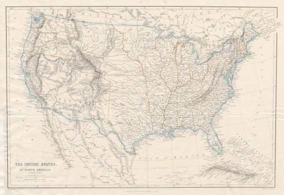 Map of The United States. Antique 1860 Map Showing The Early States of  America With Major Cities, and Towns. Blackie and Son Entry Level Map