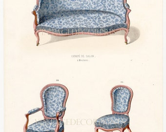 Interior Design Print of French Furniture Chairs by Guilmard Paris c1866. Original French Antique Hand coloured Lithograph. Decorative Print
