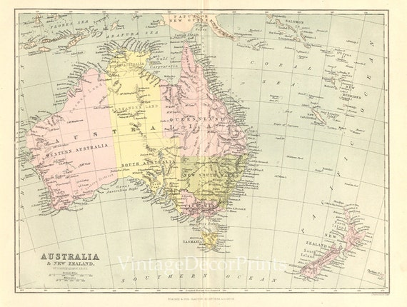 Map Showing Australia And New Zealand.Antique Map Of Australia And New Zealand 1876 Victorian Map Showing All Districts Major Cities Blackie And Son Ltd Educational Map