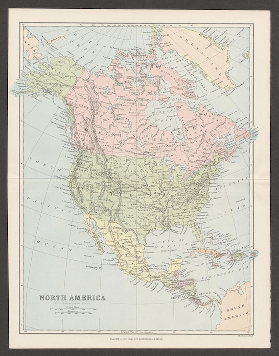 Antique Map of North America, Circa 1890, Showing The United States,  Canada, and Mexico, Major Cities Shown, Educational Historical Map.