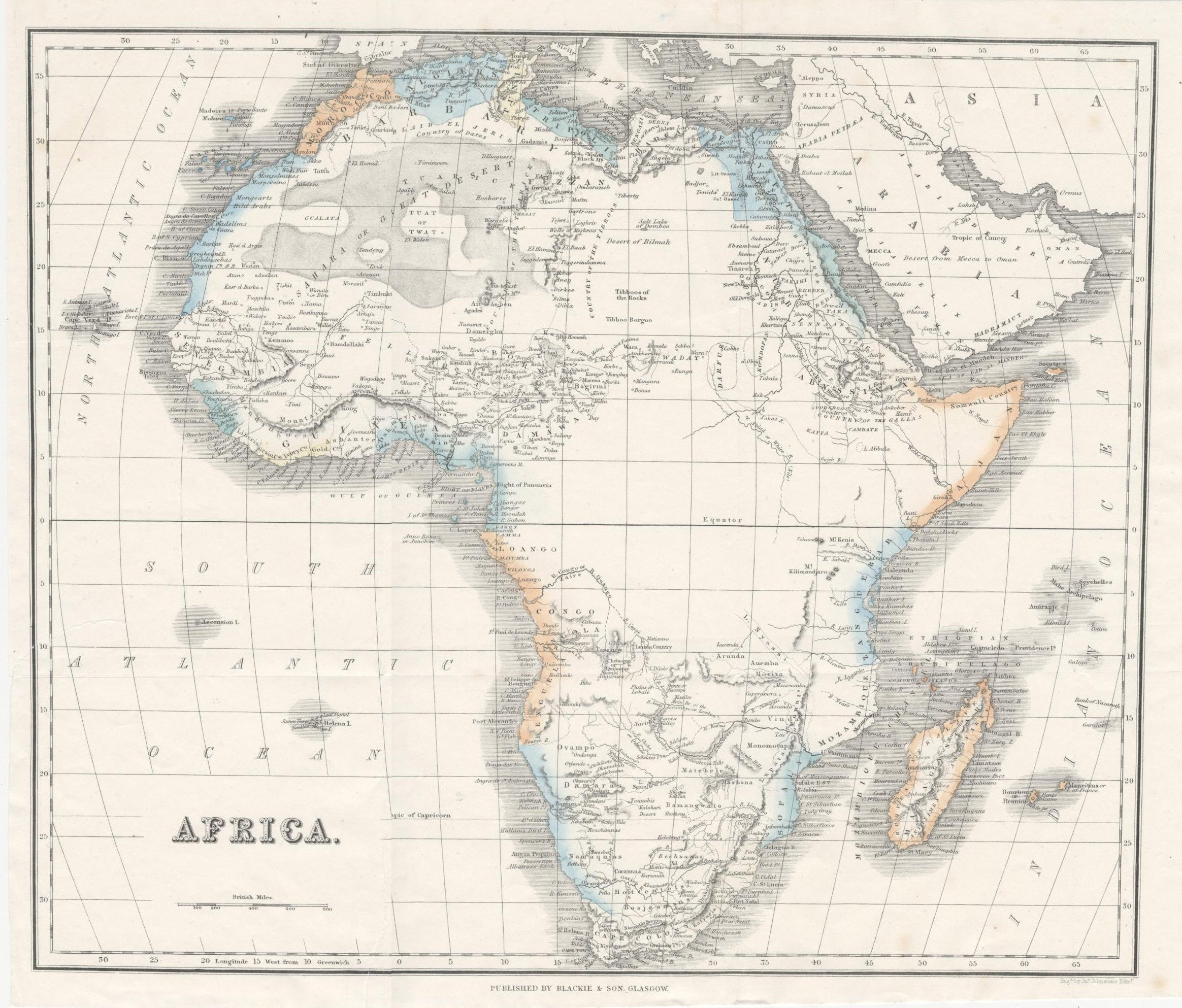 Map Of Uk Showing 4 Countries.Map Of Africa Antique 1860 Map Showing Mozambique Countries Major Cities Blackie And Son Educational Map