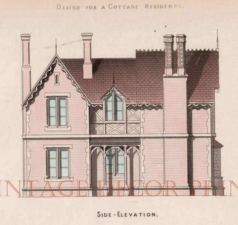 and Section Architects or Builders Office. Antique Print for a Design for a Cottage Residence Showing a Side Elevation