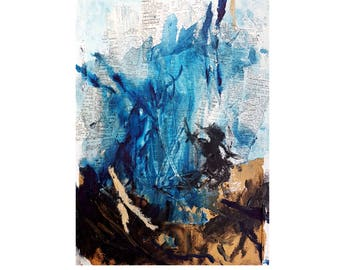 Expressionist Brush Stroke Art - Blue Abstract Art Painting and Modern Collage