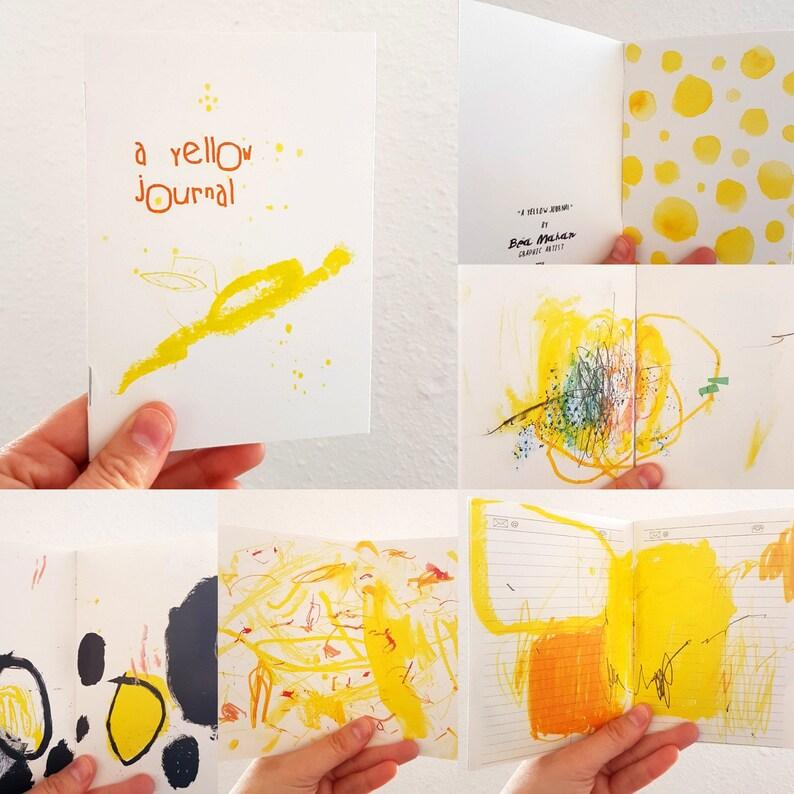 Yellow Abstract Art Journal  Inspirational Zine Art Notebook image 0