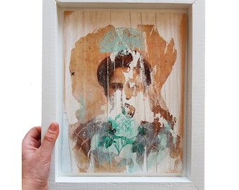 Framed Abstract Portrait - Retro Lady Painting - Rustic Photography Artwork