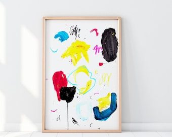 Primary Colors Art - Vibrant Abstract Painting on Paper