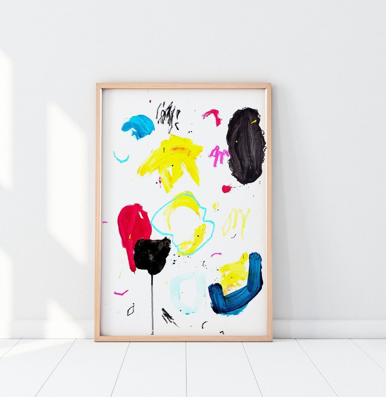 Primary Colors Art  Vibrant Abstract Painting on Paper image 0