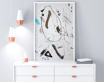 Large Abstract Painting on Paper - Original Black and White Art