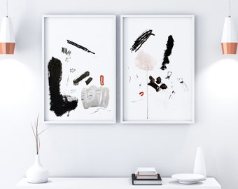 Original Abstract Painting on Paper Diptych - Set of 2 Black and White Elegant Wall Decor