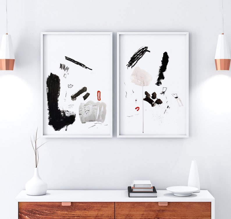 Original Abstract Painting on Paper Diptych  Set of 2 Black image 1