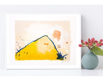 Mountain Painting on Paper - Colorful Landscape Art Yellow