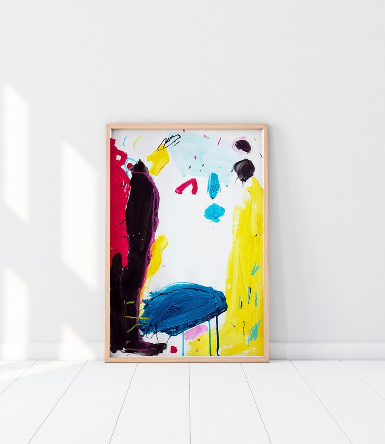Abstract Vibrant Painting on Paper  Primary Colors Art image 0