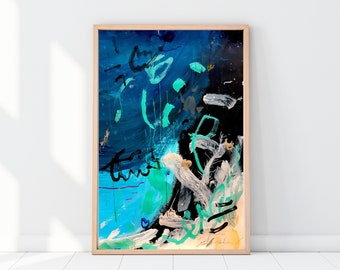 Large Abstract Painting on Paper - Blue Expressionist Art