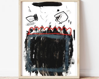 Brush Stroke Art Painting on Paper - Abstract Expressionist Art