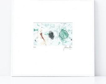 Minimalist Etching Print - Soft Colors Line Drawing - Typographic Art