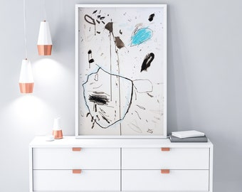 Large Wall Art Black and White - Original Abstract Drawing