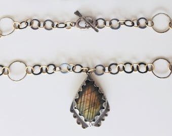 Labradorite Stone Pendant on a Sterling Silver & 9ct Gold Handmade link necklace