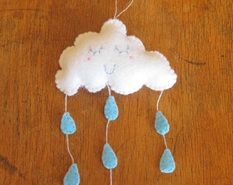 Mini Felt Rain Cloud Wall Hanging Nursery Decor