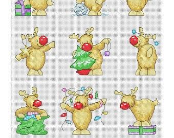 Rudolph Christmas Cards / PDF Cross Stitch Pattern