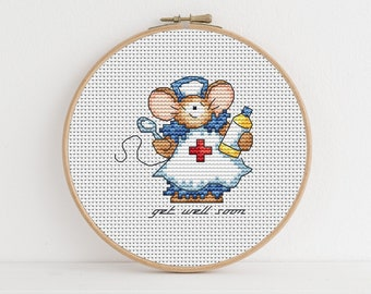 NURSE CROSS STITCH GREETING CARD