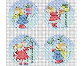 Furry Tales - Snowy Christmas Cards / PDF Cross Stitch Pattern