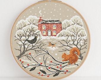 Winter Cottage Cross Stitch Pattern - Lucie Heaton - Digital PDF Counted Cross Stitch Chart Download